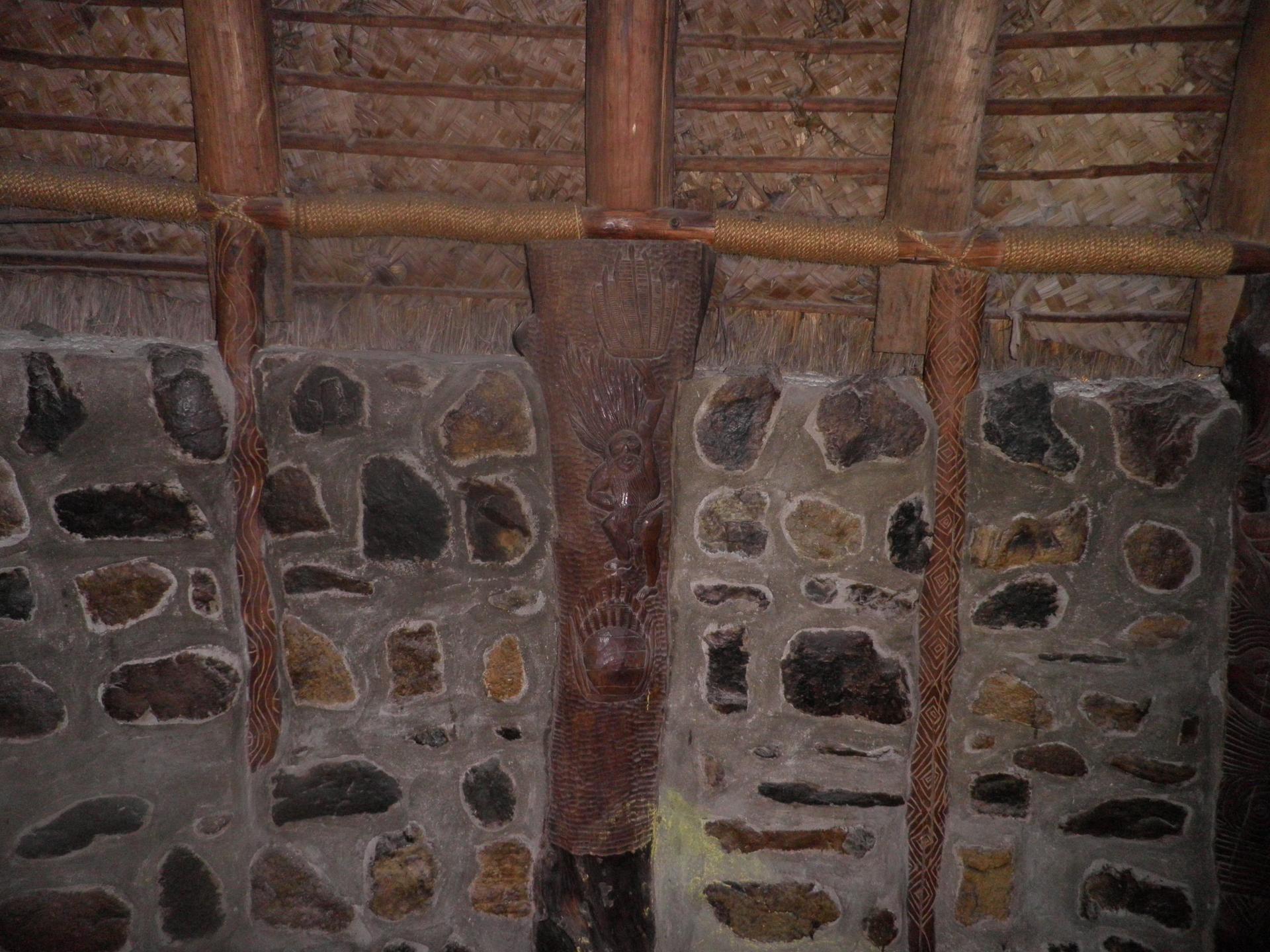 Intérieur d'une case Kanak- Centre culturel Jean-Marie Tjibaou-mai 2018-Photo Fabienne
